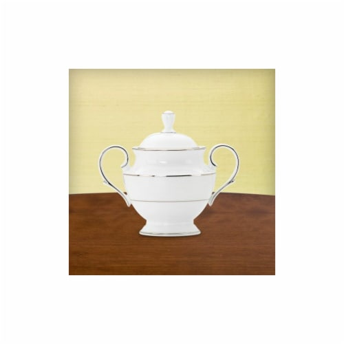 Lenox 814740 Opal Innocence Stripe Sugar Bowl With Lid Perspective: front
