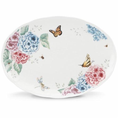 Lenox Butterfly Meadow Hydrangea Dinnerware Oval Platter, 16in Perspective: front
