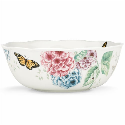 Lenox 841012 Butterfly Meadow Hydrangea Dinnerware Serving Bowl, 72 oz Perspective: front