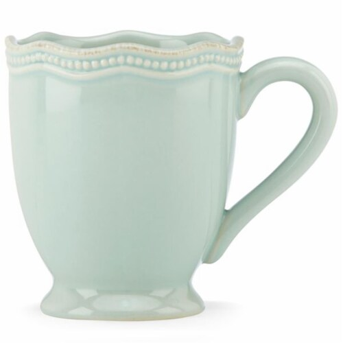 Lenox 12 oz French Perle Bead Ice Blue Mug Perspective: front