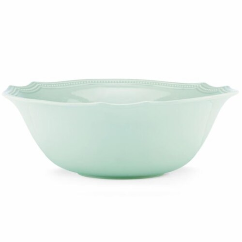 Lenox 854869 64 oz French Perle Bead Ice Blue Serving Bowl - Large Perspective: front