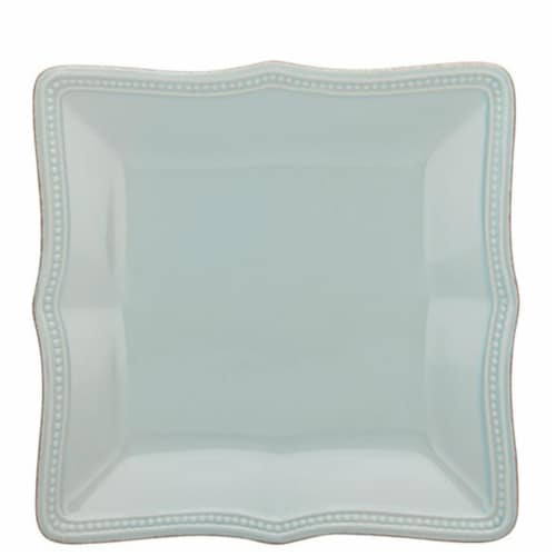 Lenox 8.5 in. French Perle Bead Ice Blue Square Accent Plate Perspective: front