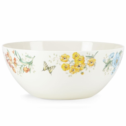 Lenox 855597 Butterfly Meadow Melamine Dinnerware Serving Bowl, Large, 4 mm Perspective: front