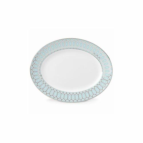 Lenox 13 in. Gluckstein Clara Aqua Oval Platter Perspective: front