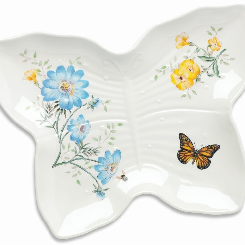 Lenox 865998 Butterfly Meadow Melamine Dinnerware Large Butterfly Tray, 9 dia. Perspective: front