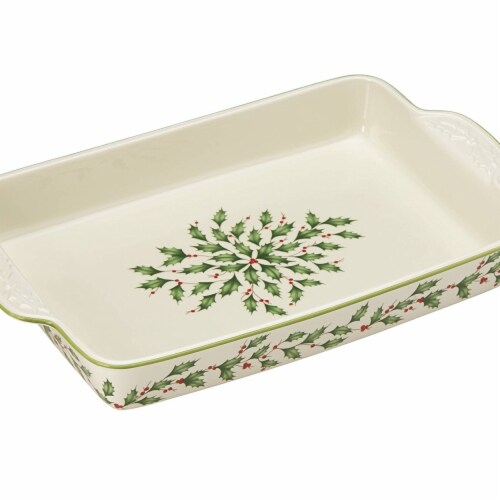 Lenox 869955 Holiday Rectangular Baker Perspective: front