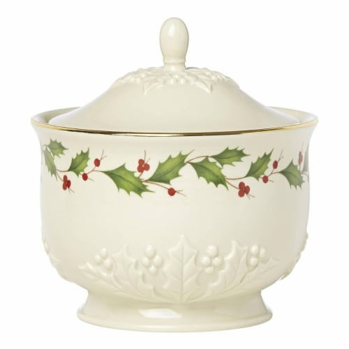 Lenox Holiday Dinnerware Carved Treat Jar Perspective: front