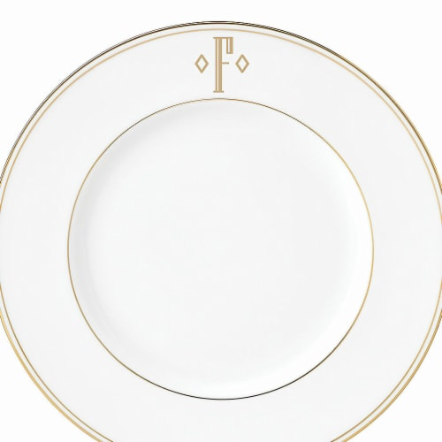 Lenox 9 in. dia. Federal Gold Monogram Block Accent Plate - F Perspective: front