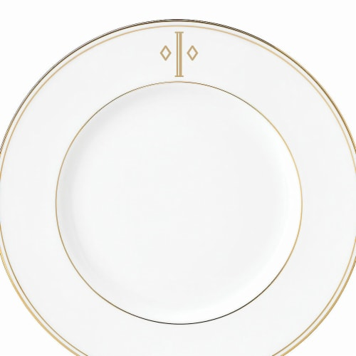 Lenox 9 in. dia. Federal Gold Monogram Block Accent Plate - I Perspective: front
