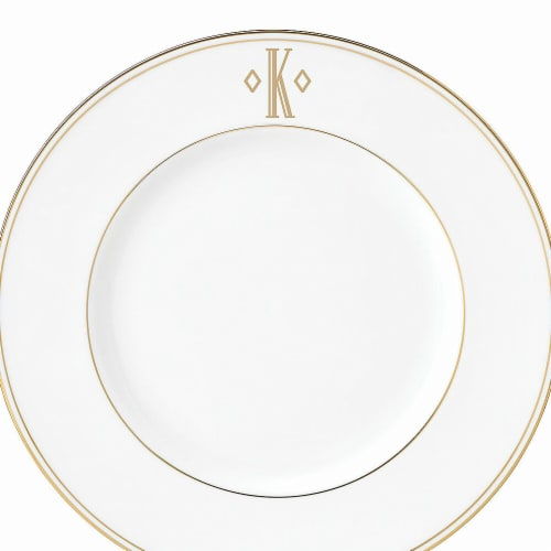 Lenox 9 in. dia. Federal Gold Monogram Block Accent Plate - K Perspective: front
