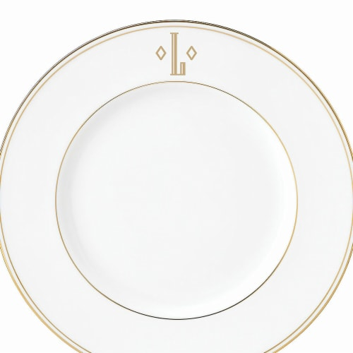 Lenox 9 in. dia. Federal Gold Monogram Block Accent Plate - L Perspective: front