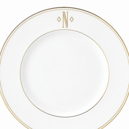 Lenox 9 in. dia. Federal Gold Monogram Block Accent Plate - N Perspective: front