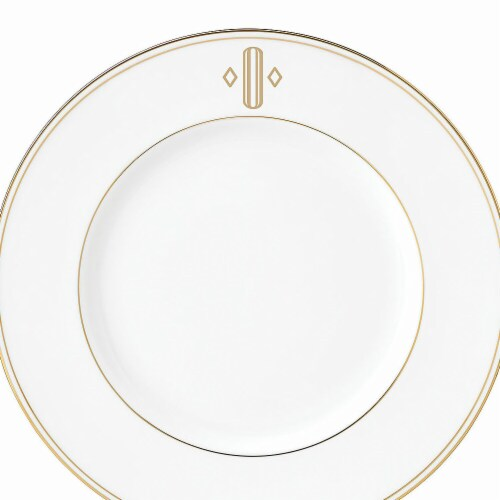 Lenox 9 in. dia. Federal Gold Monogram Block Accent Plate - O Perspective: front