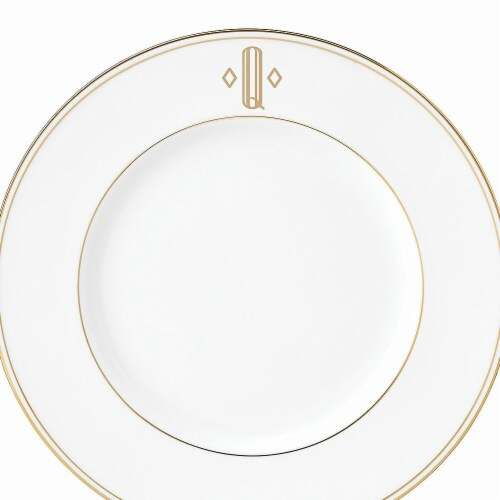 Lenox 9 in. dia. Federal Gold Monogram Block Accent Plate - Q Perspective: front