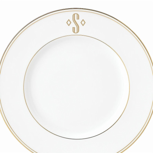 Lenox 9 in. dia. Federal Gold Monogram Block Accent Plate - S Perspective: front