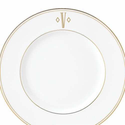 Lenox 9 in. dia. Federal Gold Monogram Block Accent Plate - V Perspective: front