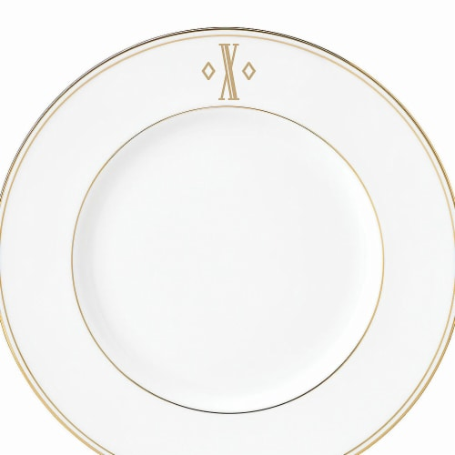 Lenox 9 in. dia. Federal Gold Monogram Block Accent Plate - X Perspective: front