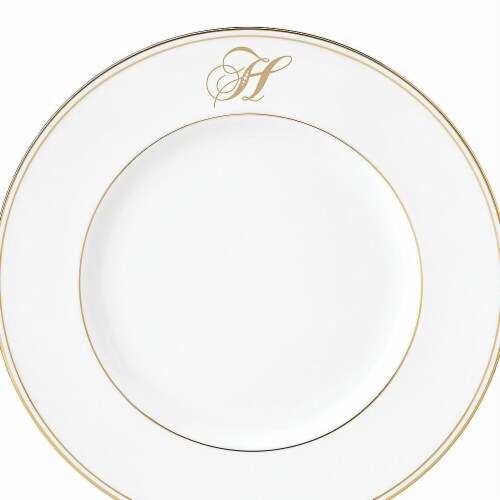 Lenox 9 in. dia. Federal Gold Monogram Script Accent Plate - H Perspective: front