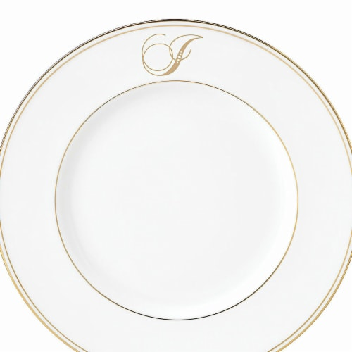 Lenox 9 in. dia. Federal Gold Monogram Script Accent Plate - I Perspective: front
