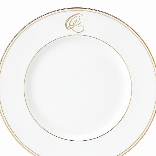 Lenox 9 in. dia. Federal Gold Monogram Script Accent Plate - Q Perspective: front