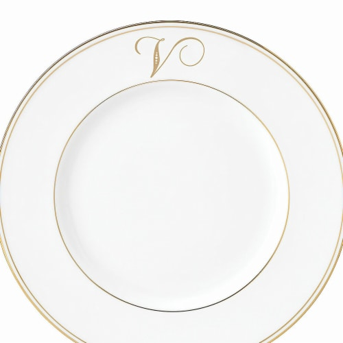 Lenox 9 in. dia. Federal Gold Monogram Script Accent Plate - V Perspective: front