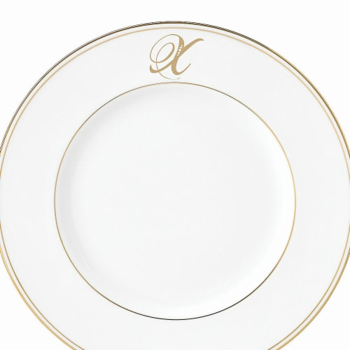 Lenox 9 in. dia. Federal Gold Monogram Script Accent Plate - X Perspective: front