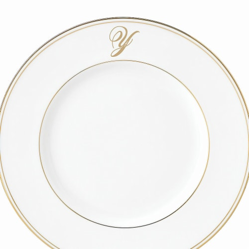 Lenox 9 in. dia. Federal Gold Monogram Script Accent Plate - Y Perspective: front
