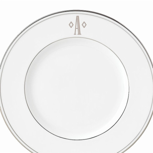 Lenox 9 in. dia. Federal Platinum Monogram Block Accent Plate - A Perspective: front