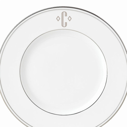 Lenox 9 in. dia. Federal Platinum Monogram Block Accent Plate - C Perspective: front