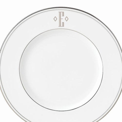 Lenox 9 in. dia. Federal Platinum Monogram Block Accent Plate - E Perspective: front