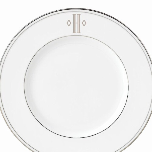 Lenox 9 in. dia. Federal Platinum Monogram Block Accent Plate - H Perspective: front