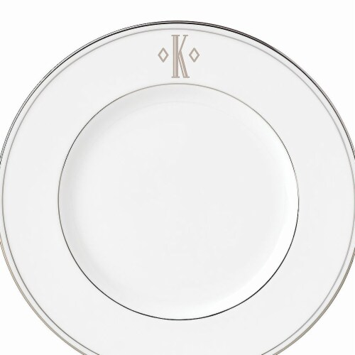 Lenox 9 in. dia. Federal Platinum Monogram Block Accent Plate - K Perspective: front