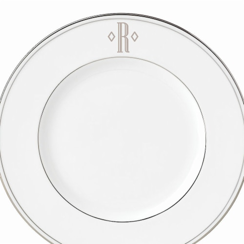 Lenox 9 in. dia. Federal Platinum Monogram Block Accent Plate - R Perspective: front