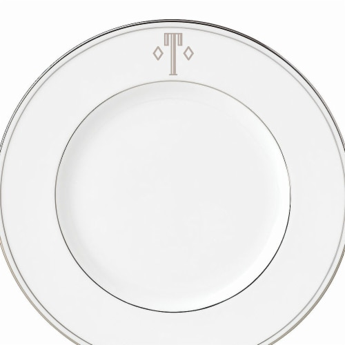 Lenox 9 in. dia. Federal Platinum Monogram Block Accent Plate - T Perspective: front
