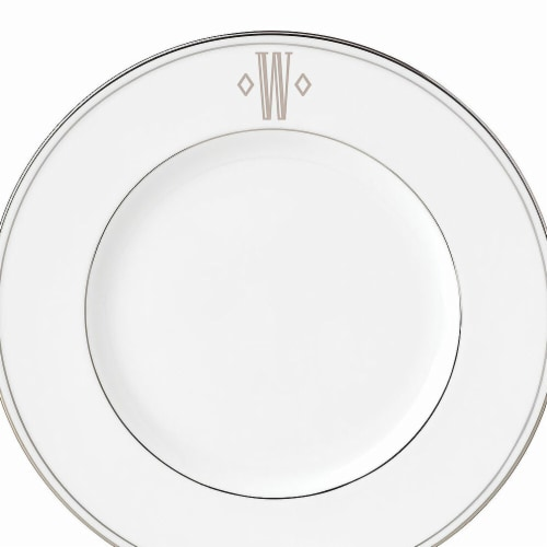 Lenox 9 in. dia. Federal Platinum Monogram Block Accent Plate - W Perspective: front