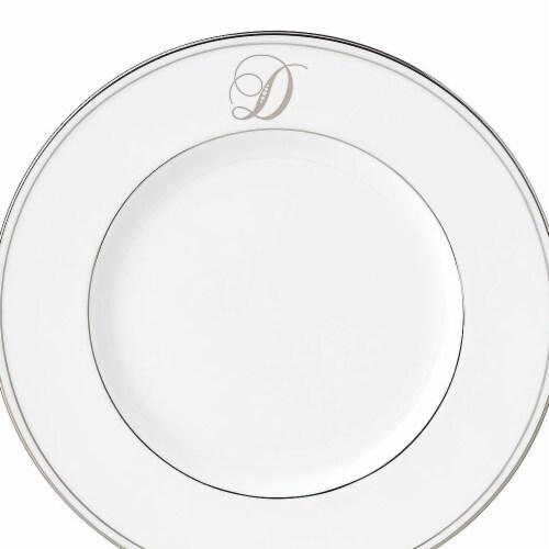 Lenox 9 in. dia. Federal Platinum Monogram Script Accent Plate - D Perspective: front
