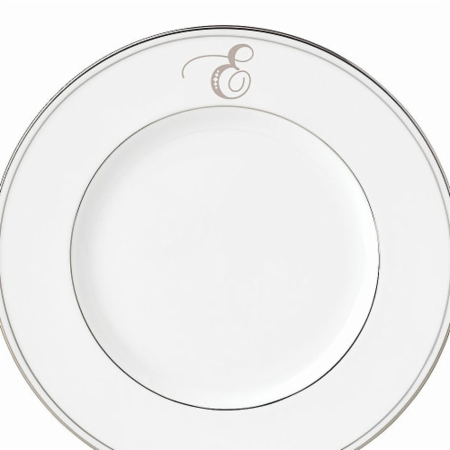 Lenox 9 in. dia. Federal Platinum Monogram Script Accent Plate - E Perspective: front