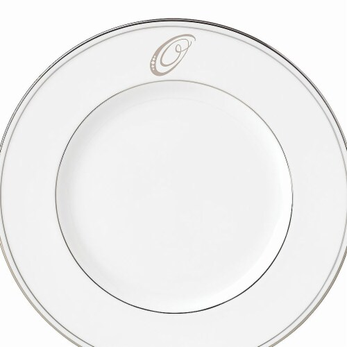 Lenox 9 in. dia. Federal Platinum Monogram Script Accent Plate - O Perspective: front