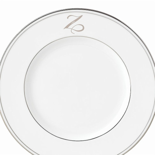 Lenox 9 in. dia. Federal Platinum Monogram Script Accent Plate - Z Perspective: front