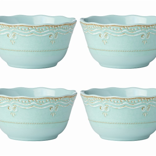 Lenox 871553 5.75 in. dia. French Perle Melamine DW All Purpose Bowl, Aqua - Set of 4 Perspective: front