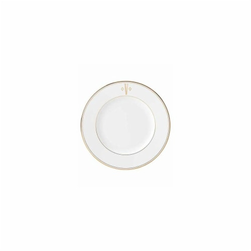 Lenox 10.8 in. dia. Federal Gold Monogram Block Dinner Plate - V Perspective: front