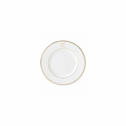 Lenox 10.8 in. dia. Federal Gold Monogram Script Dinner Plate - Q Perspective: front
