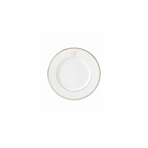 Lenox 10.8 in. dia. Federal Gold Monogram Script Dinner Plate - U Perspective: front