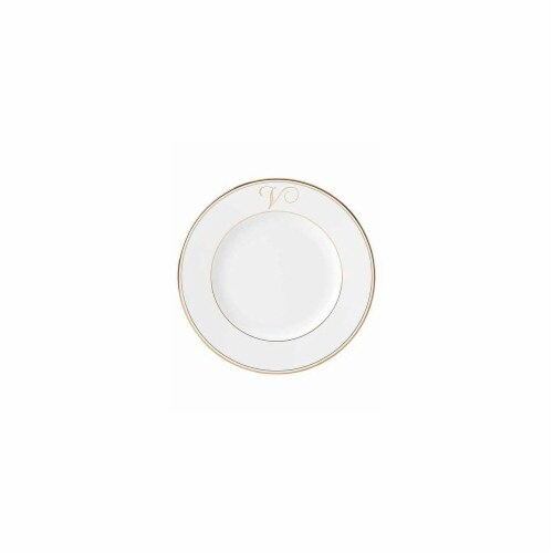 Lenox 10.8 in. dia. Federal Gold Monogram Script Dinner Plate - V Perspective: front