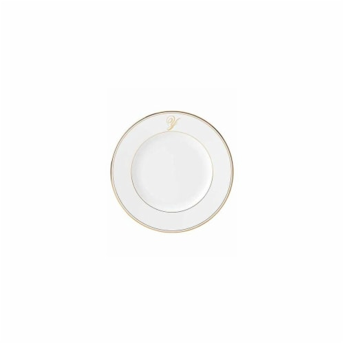 Lenox 10.8 in. dia. Federal Gold Monogram Script Dinner Plate - Y Perspective: front