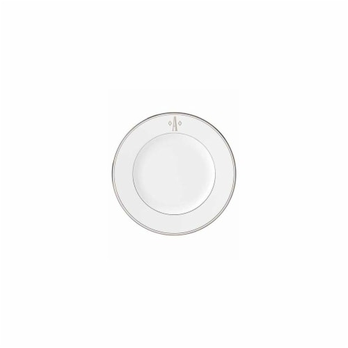 Lenox 10.8 in. dia. Federal Platinum Monogram Block Dinner Plate - A Perspective: front