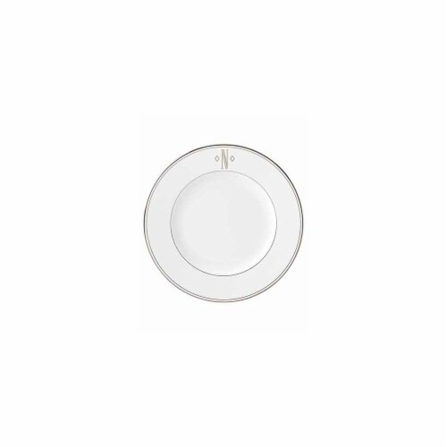Lenox 10.8 in. dia. Federal Platinum Monogram Block Dinner Plate - N Perspective: front
