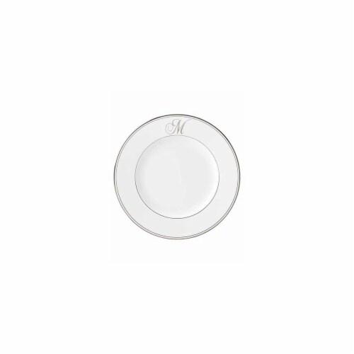 Lenox 10.8 in. dia. Federal Platinum Monogram Script Dinner Plate - M Perspective: front