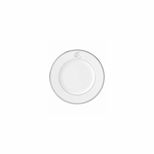 Lenox 10.8 in. dia. Federal Platinum Monogram Script Dinner Plate - Q Perspective: front