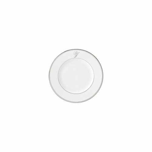 Lenox 10.8 in. dia. Federal Platinum Monogram Script Dinner Plate - Y Perspective: front